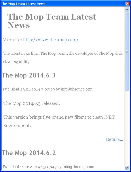 Окно RSS-новостей в версии 4.1